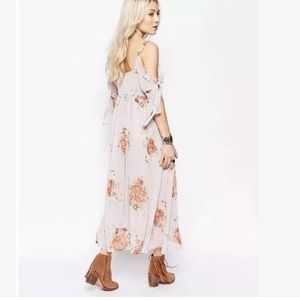 FREE PEOPLE Tied to You Floral Print Midi Dress M